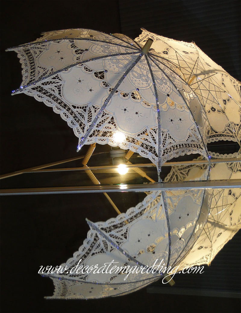 A reflection of two umbrellas in a mirror.