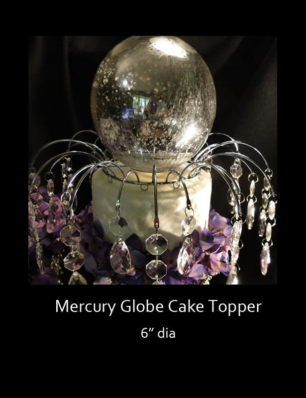 A close up look at the mercury globe sitting on the top of a wedding cake.