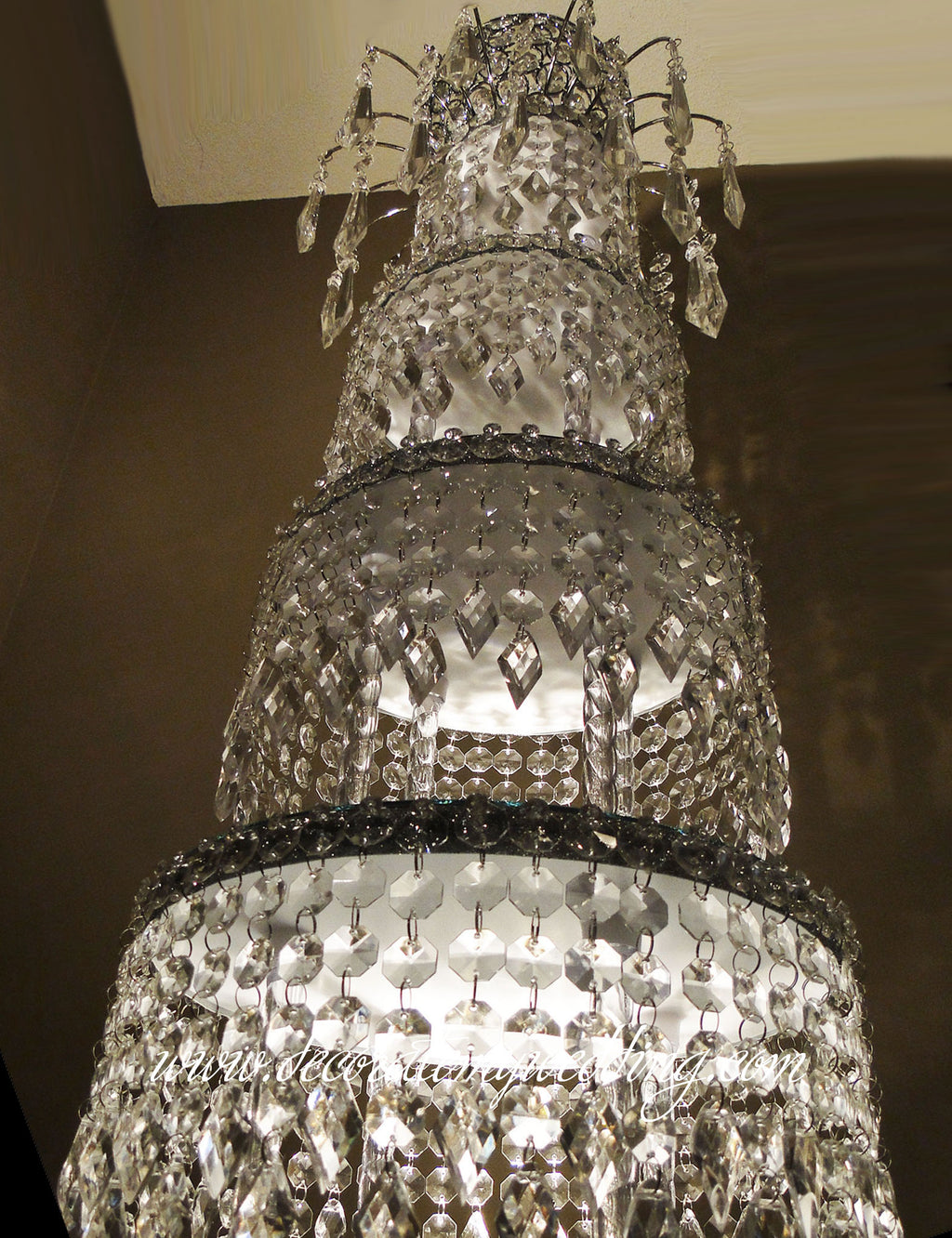 A vertical look at the stacks of diamonds that create a non-traditional wedding centerpiece.