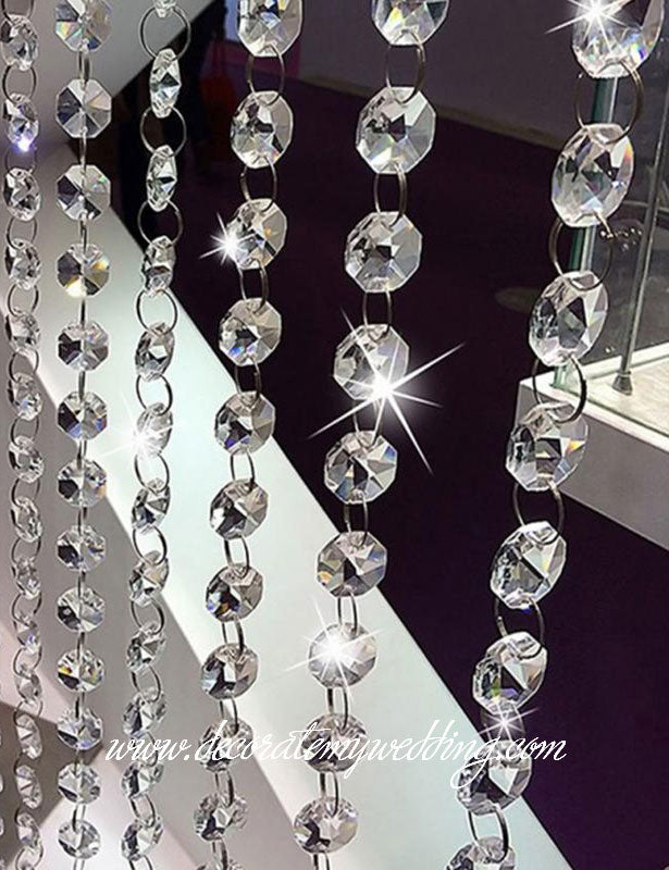 Glass octagon bead strands are a favorite wedding decoration.