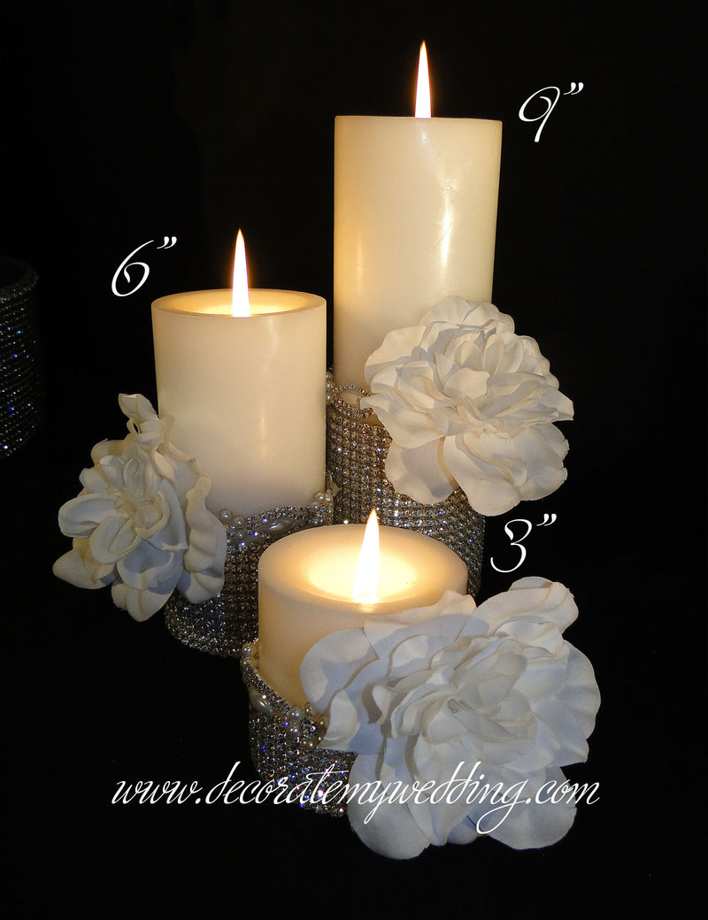 HANNA Pillar Candles w/ Pearl Trim FLORAL