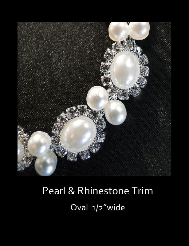 This pearl trim has an oval design with bridal white pearls.