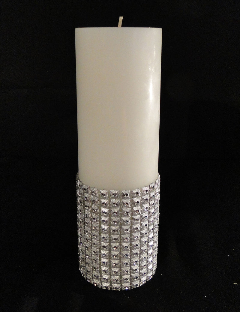 CANDLES Pillar Candle w/ Rhinestone Trim