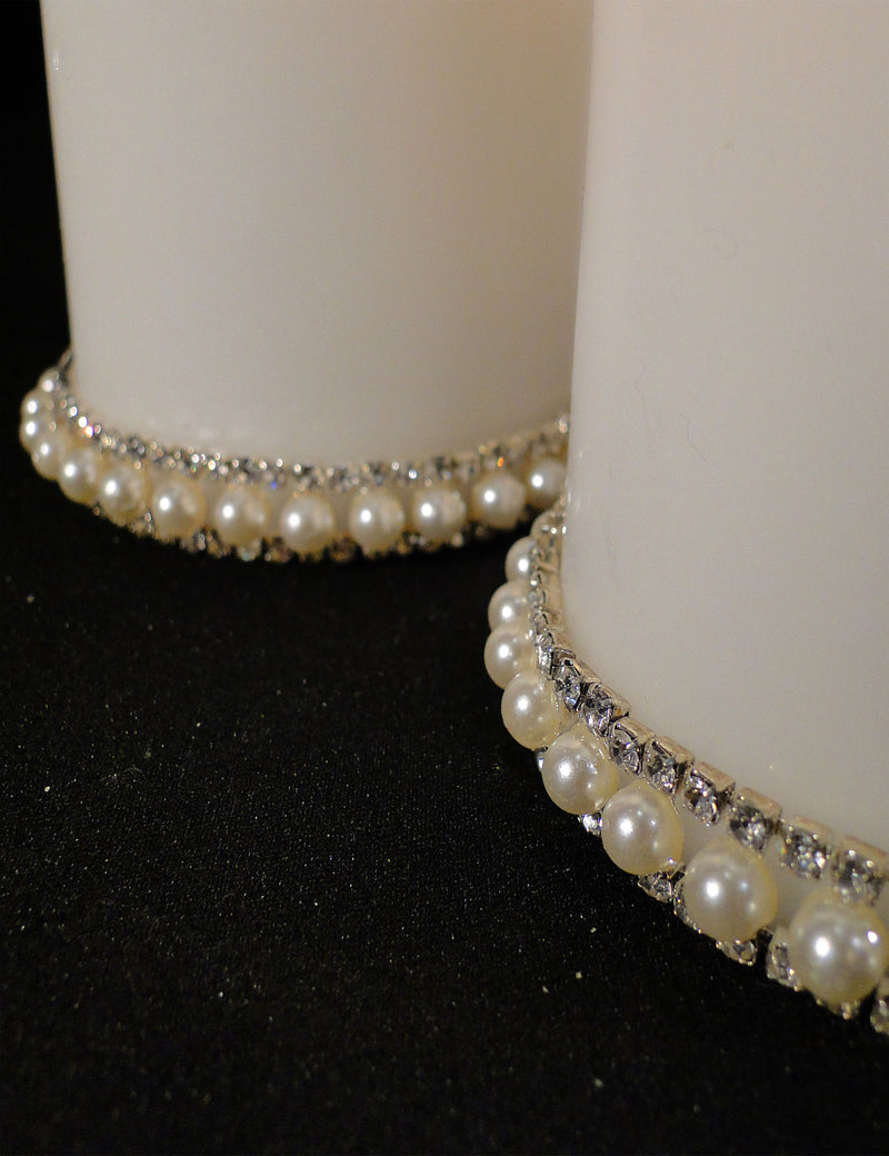 CANDLES Pillar Candles Trimmed with Rhinestone & Pearls