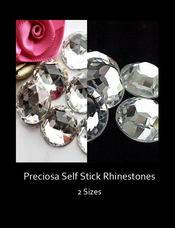 The clear, faceted, self-stick Preciosa rhinestones are available in two sizes.