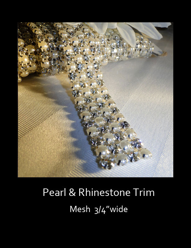 CAKE BANDING Pearl & Rhinestone Mesh Trim 4 Rows PRE-CUT LENGTHS
