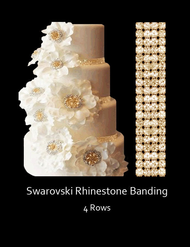 Cake Banding Swarovski Rhinestones 4 ROWS 6-FT Precut Lengths