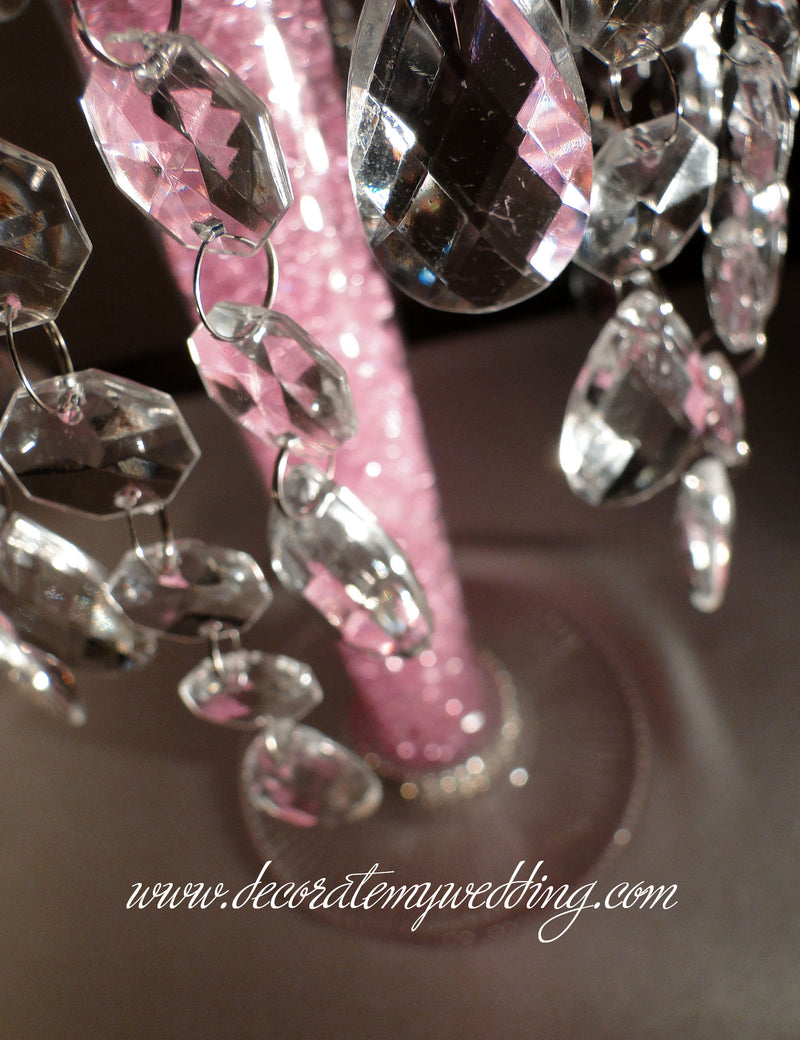 A close up look at the crystal beads and teardrops.