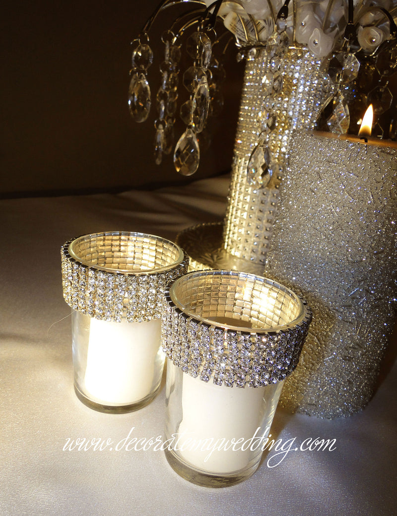 The rhinestone candle holders can be paired with other candles for an interesting display.