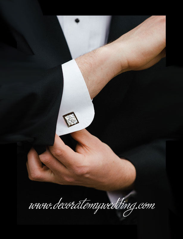 The rhinestone cufflinks are completely covered with clear Swarovski crystal rhinestones.