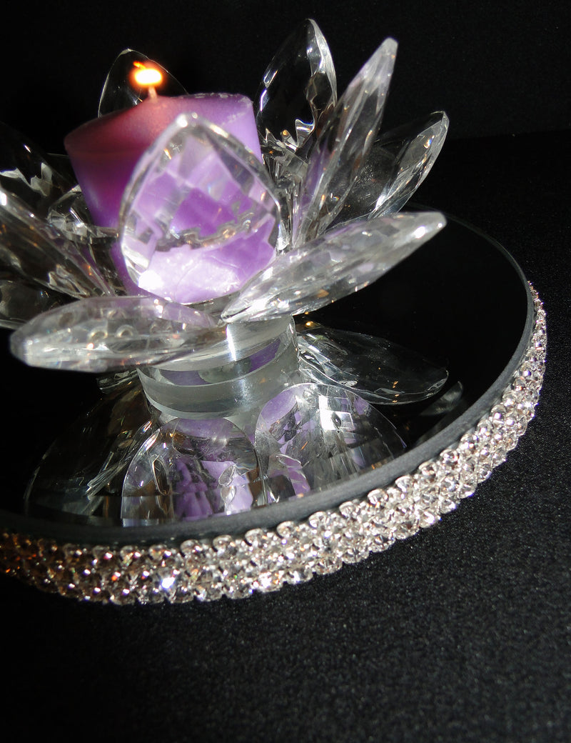 CANDLE HOLDERS Crystal Lotus Votive Holders PKG of 2 SOLD OUT