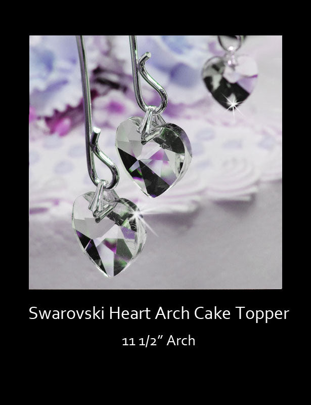 A close up look at the Swarovski crystal hearts.