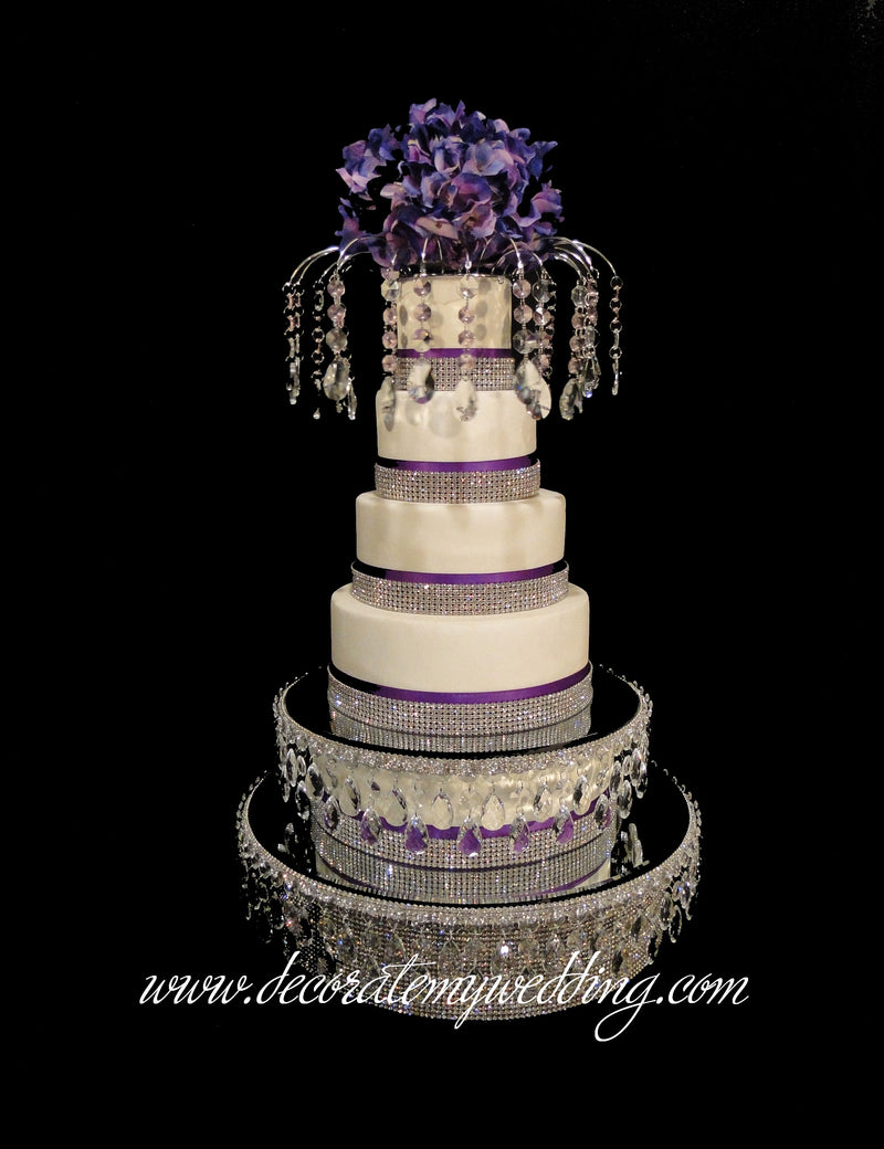 Full view of three tiers of cake separators. Add a cake platform, a Lauren Cake Topper, and a beaded globe for a complete look from top to bottom.
