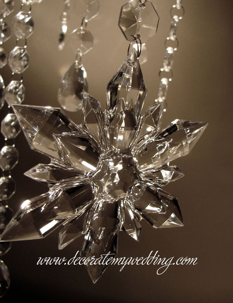A close up look at an acrylic snowflake.