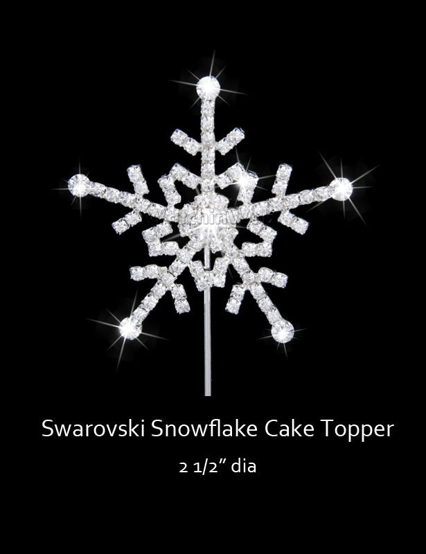 This snowflake cake topper is completely covered with Swarovski rhinestones.