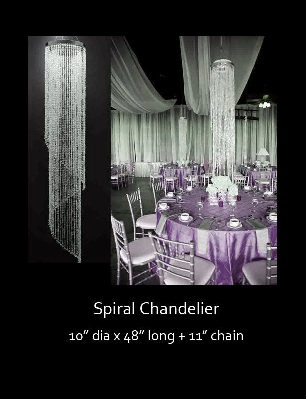 Hang this spiral chandelier directly over a guest table to create a dramatic centerpiece at your wedding reception.