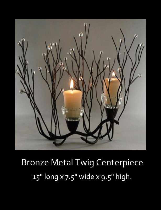Full view of twig centerpiece with extra large votive candles.
