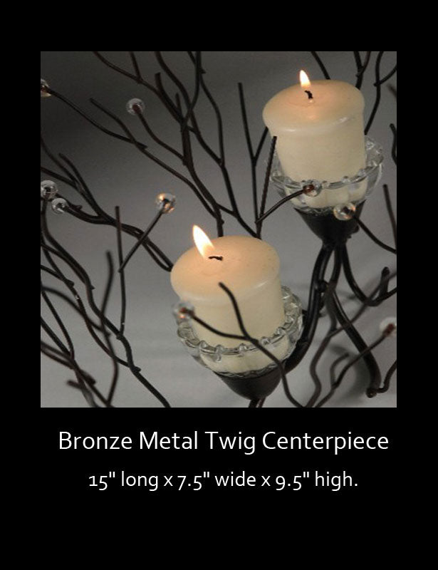 Top view of candle cups on twig centerpiece.