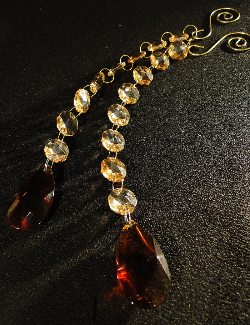 9 IN BAROQUE Pendant w/ Spiral Hook CHAMPAGNE & AMBER GLASS SOLD OUT