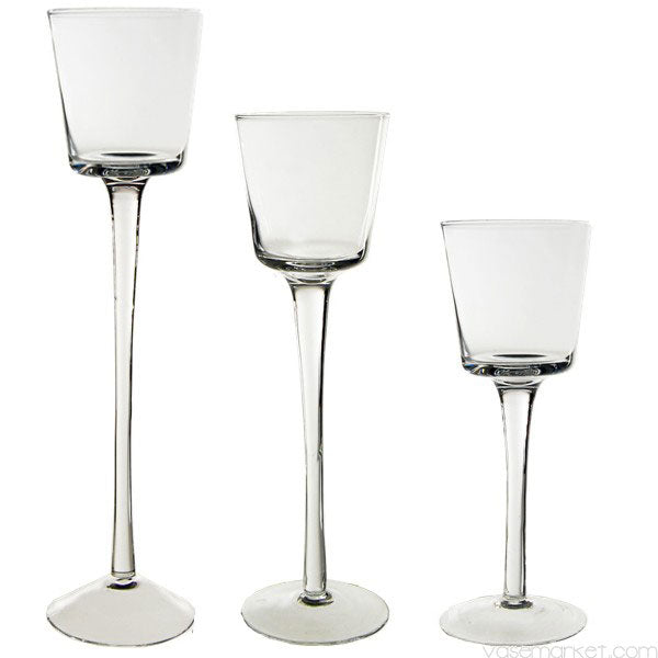 CANDLE HOLDER Stemmed Clear Glass Trio Votive Holders (Set of 3) SOLD OUT