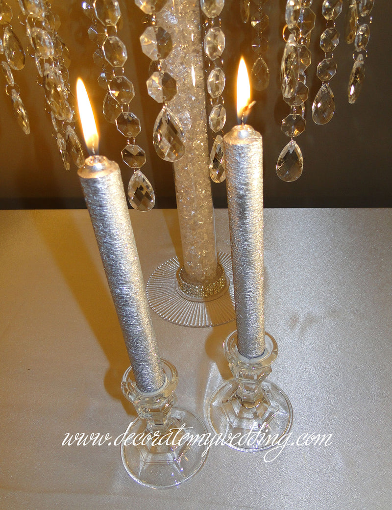Taper candles and holders.