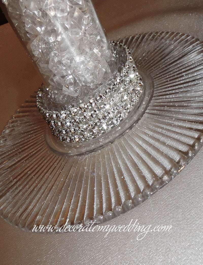 Close up look at the rhinestone banding wrapped around the base.