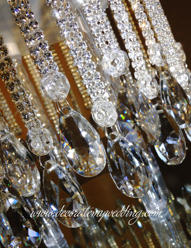 A close up look at the rhinestone strands and dangling teardrops.