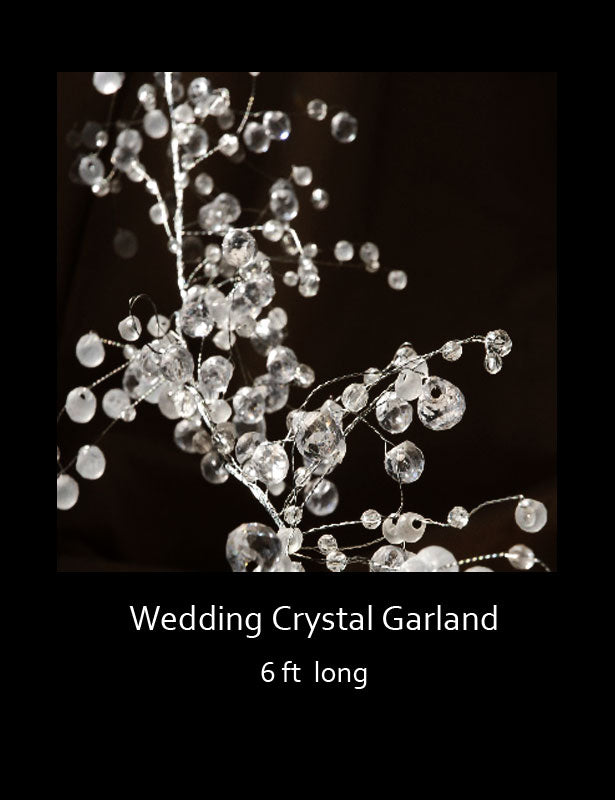 "The crystal beaded garland has a main twisted silver wire with hundreds of smaller silver wires creating the ""branches""."