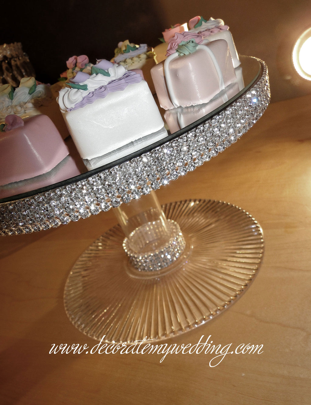 This is a beautiful addition to your wedding buffet table. Completed wrapped and trimmed with Swarovski rhinestones.