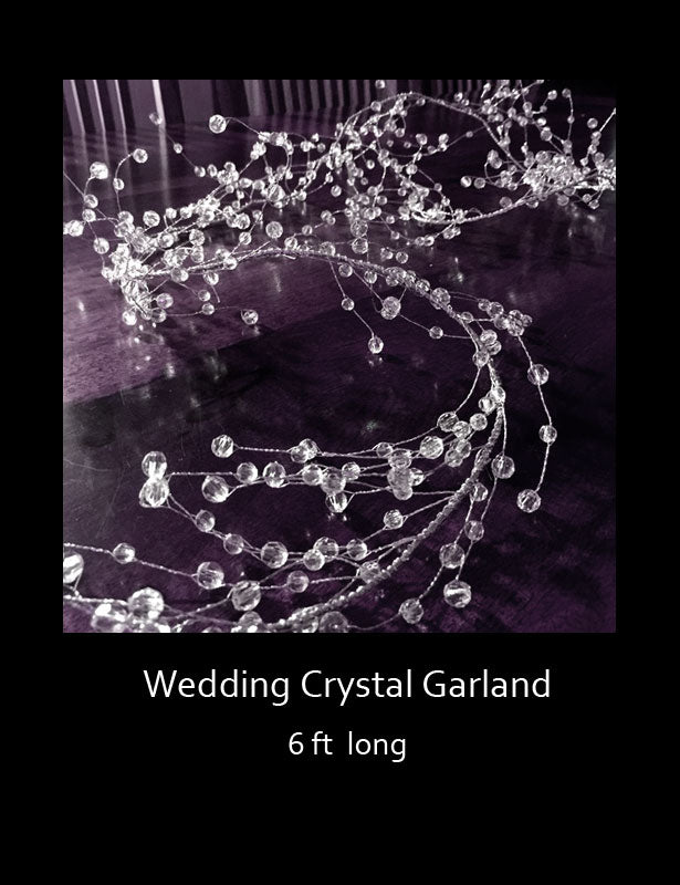 This wedding crystal garland is made with hundreds of acrylic beads which are connected with silver wire.