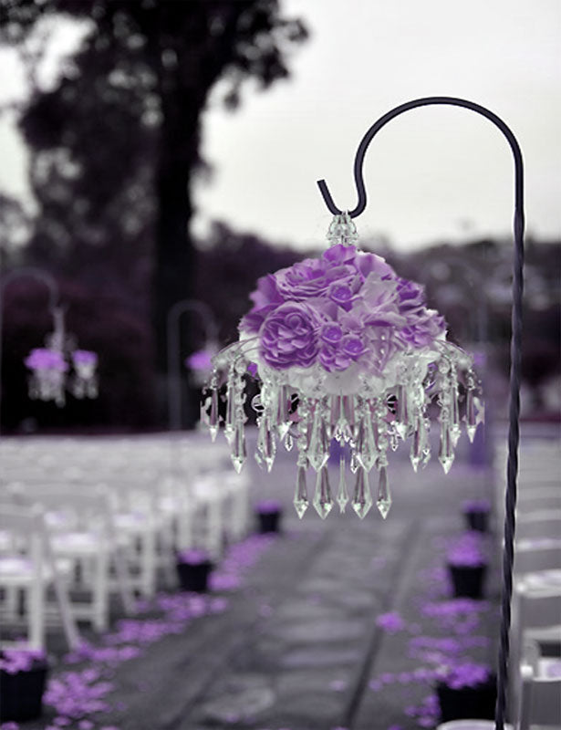 Wedding pew decorations can be created using our hanging diamond pendants and a Shepard's hook.