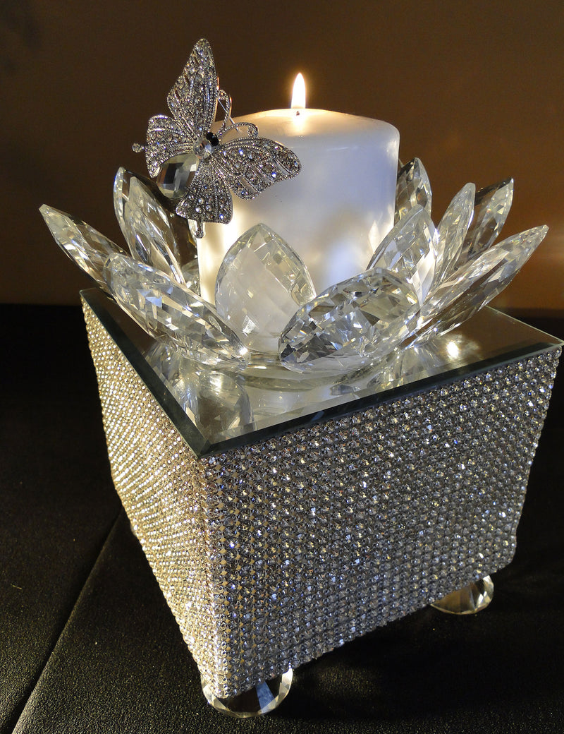 CANDLE HOLDER Crystal Lotus Votive Holder