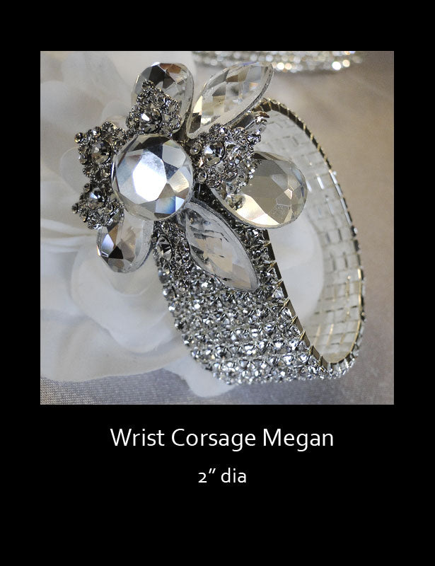 The banding on our wedding wrist corsages have seven rows of rhinestones and one size fits all.