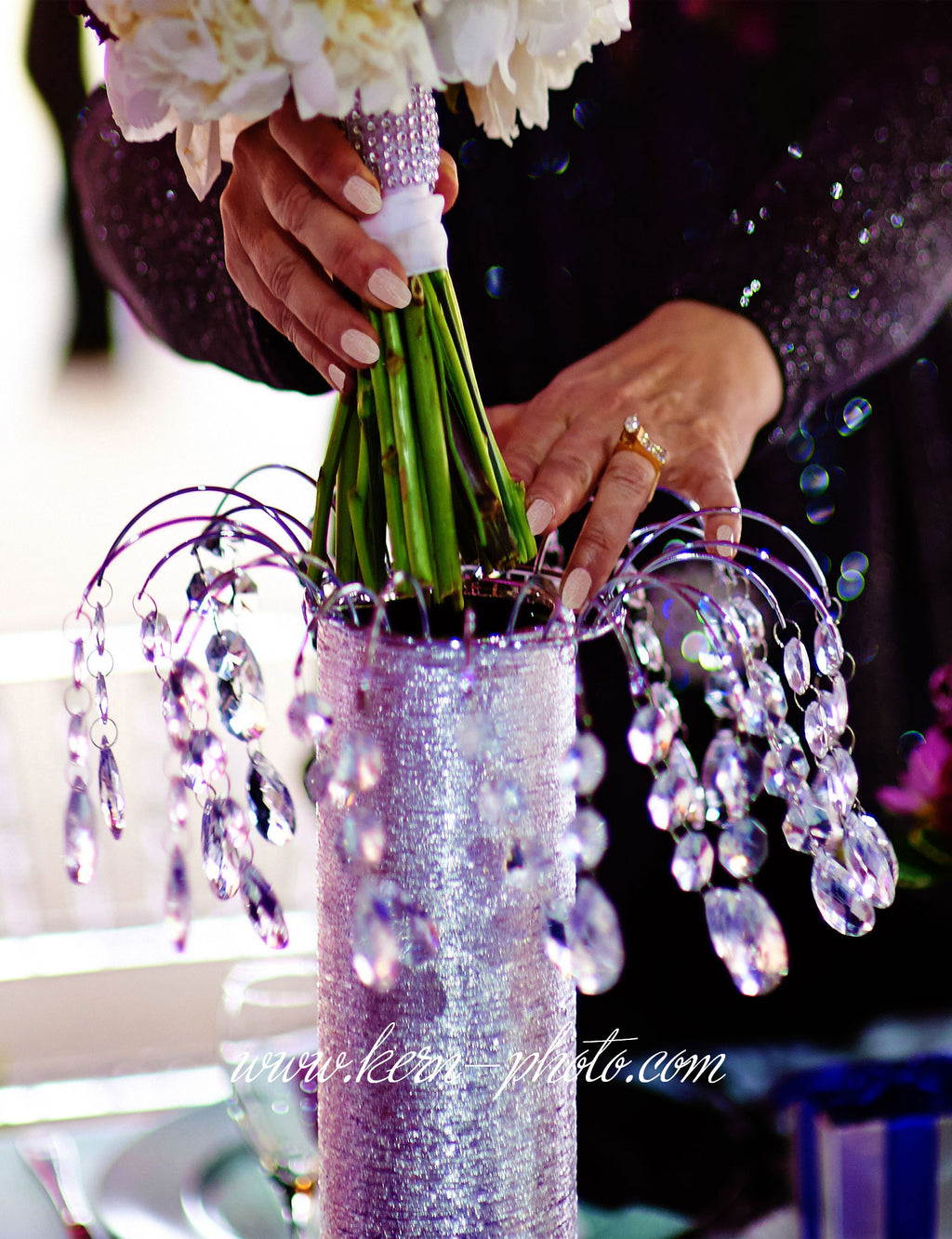 Just drop your bridal centerpieces into the vases to create these lovely wedding flower centerpieces.
