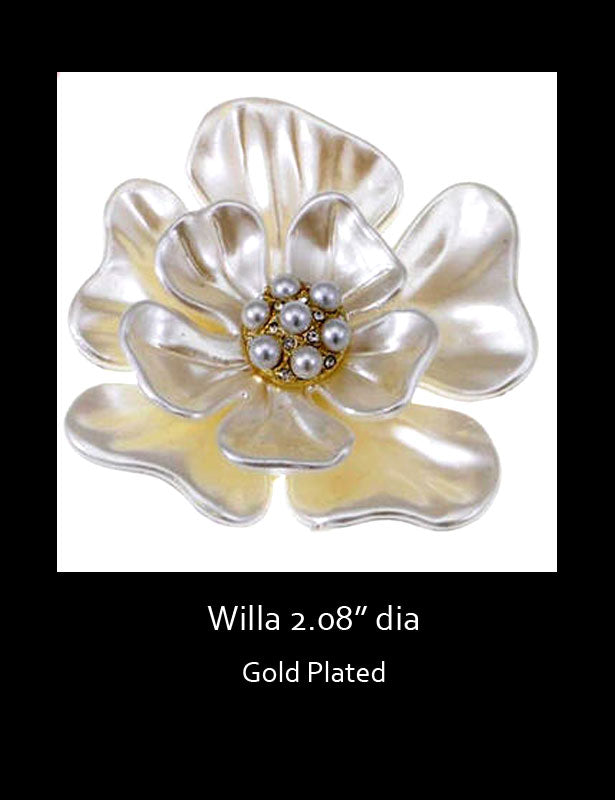 This floral white brooch has a bridal white pearl finish on the petals with a pearl bead center.