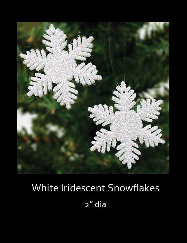 Two white iridescent snowflakes hanging from a tree branch.