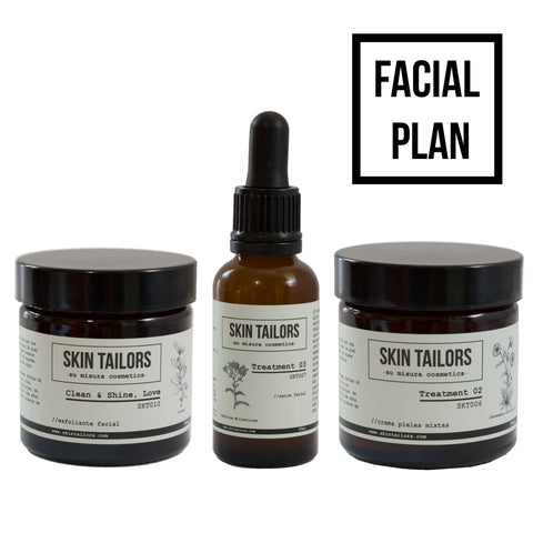 Facial Plan Clean & Shine: Sérum, crema y exfoliante.