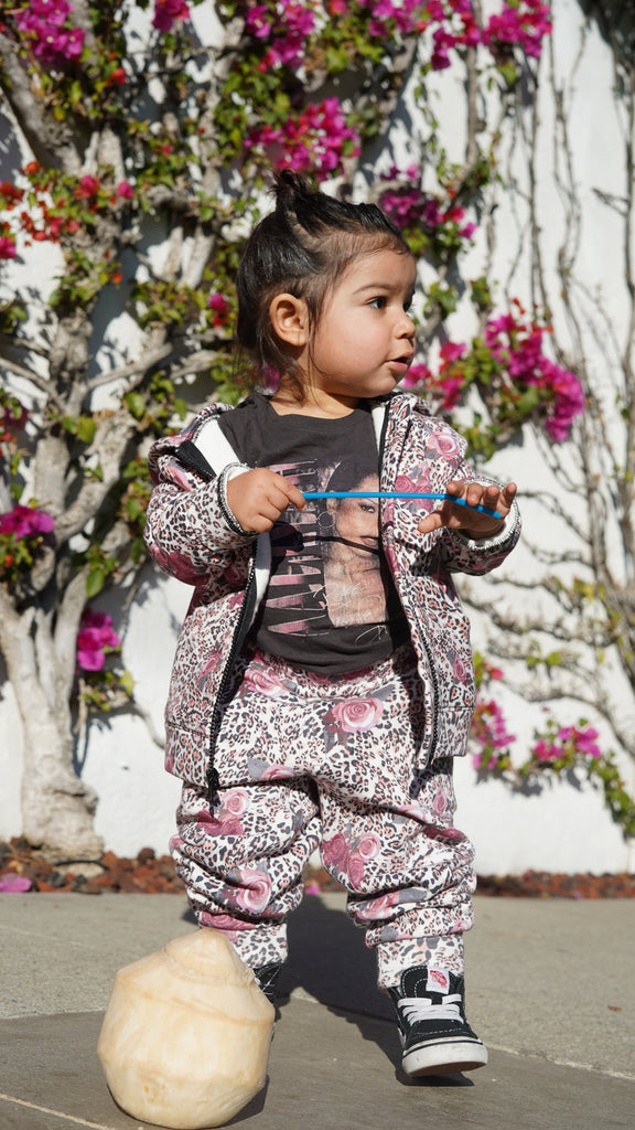Baby in Leopard Rose hoodie and jogger pants