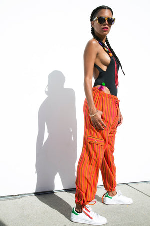Orange Stripe | Side View | Brandy Pants | JungleGurl