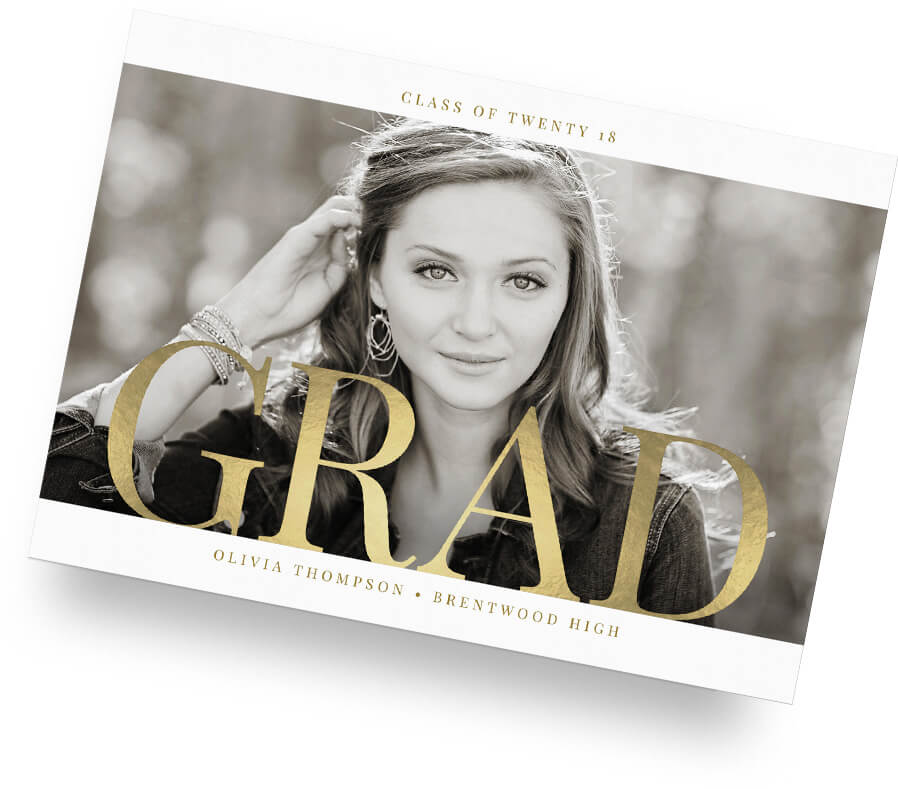 Photo of a senior graduation card template.