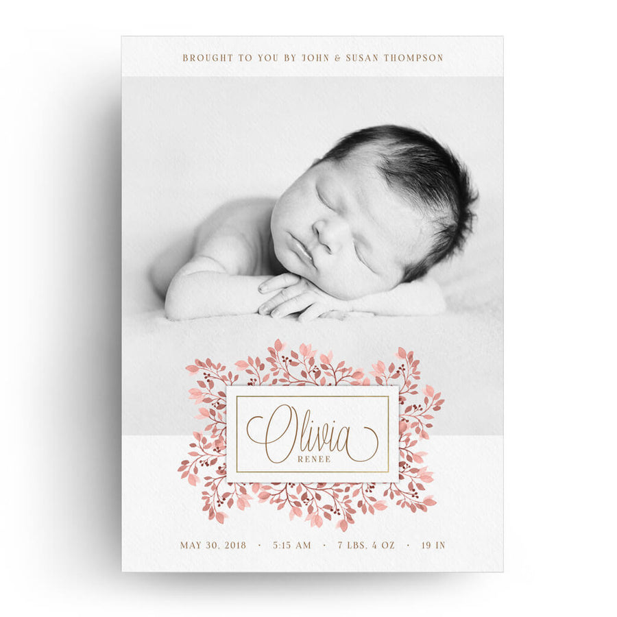 floral birth announcement card 3 dollar photoshop templates for photographers