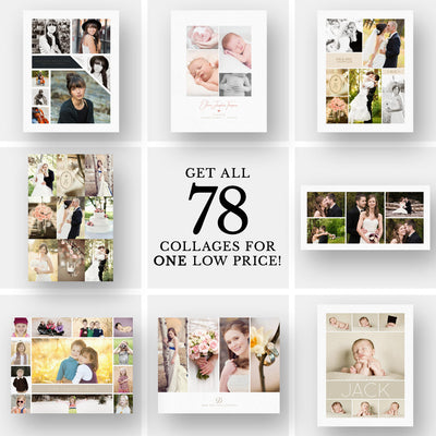 2017 Collage Collection | 78 Collages - 3 Dollar Photoshop Templates for Photographers