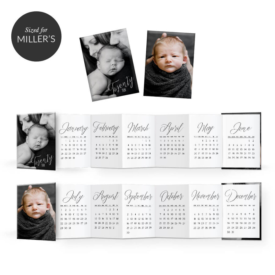 2018 Classic Calendar | Mini Accordion Book - 3 Dollar Photoshop Templates for Photographers