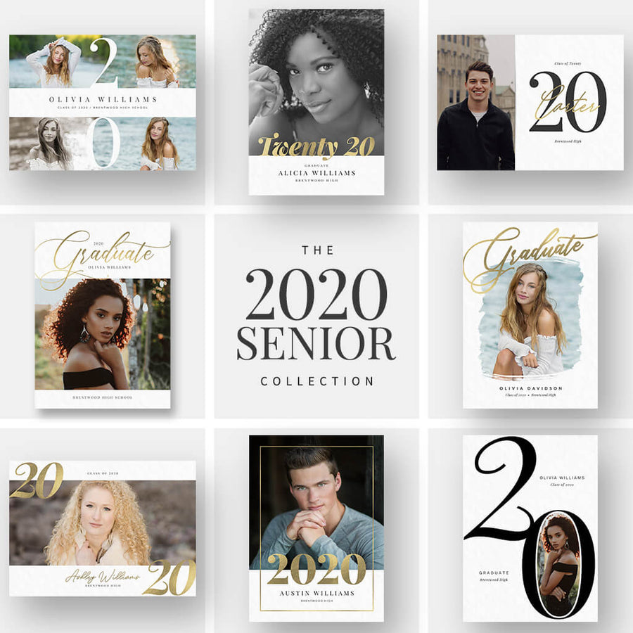 2020 Senior Card Collection - 30 Designs! - 3 Dollar Photoshop Templates for Photographers