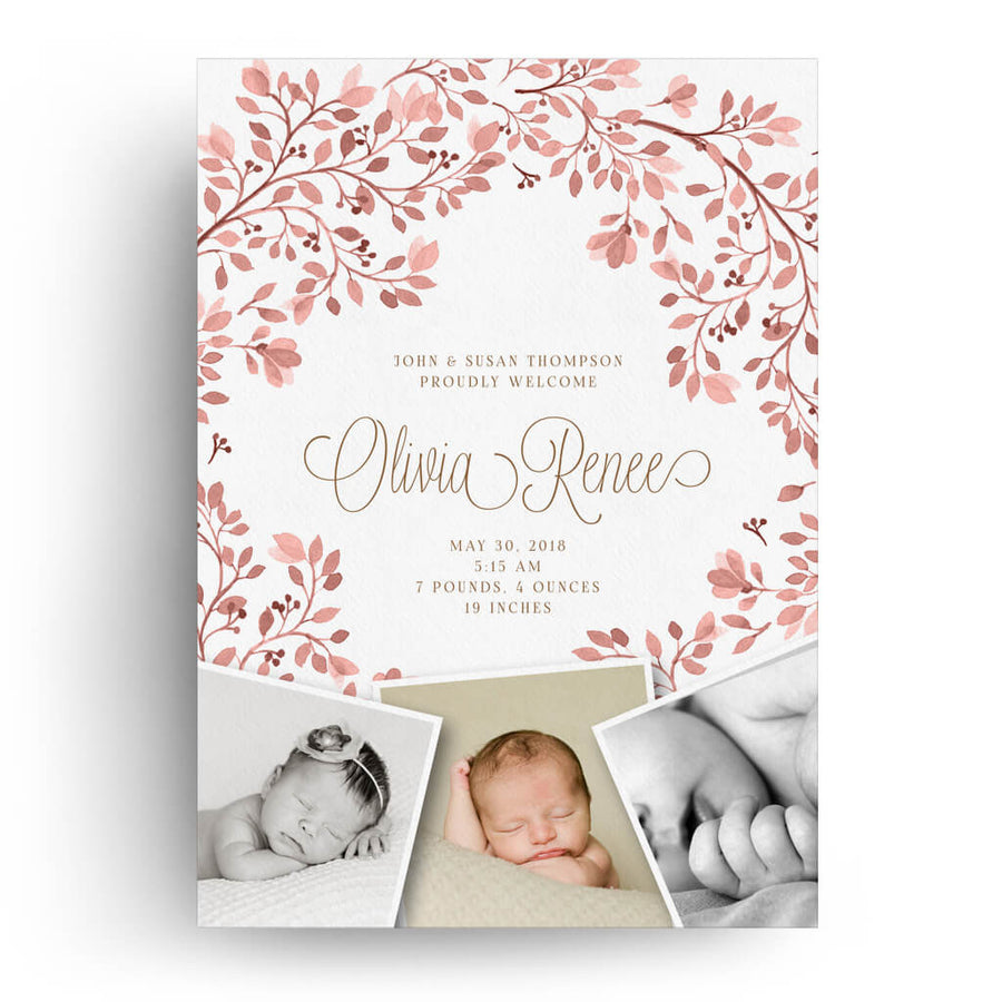 Floral | Birth Announcement Card - 3 Dollar Photoshop Templates for Photographers