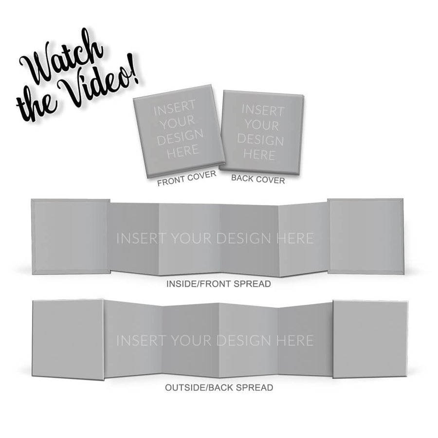 Square Accordion Mini Book Mock Up - 3 Dollar Photoshop Templates for Photographers