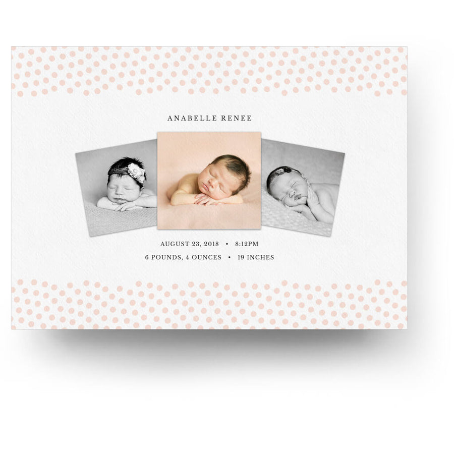 Anabelle | Birth Announcement Card - 3 Dollar Photoshop Templates for Photographers