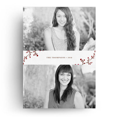 Berry Branches | Christmas Card - 3 Dollar Photoshop Templates for Photographers