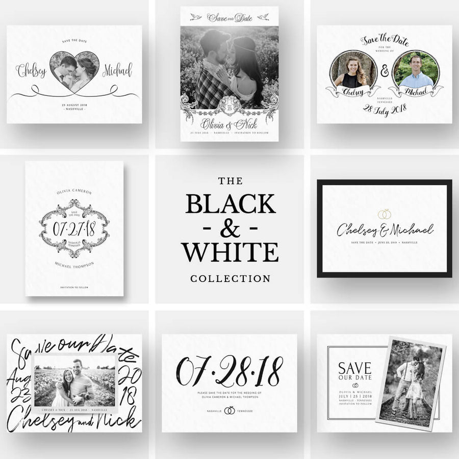 The Black & White Collection | (8) Save-the-Date Cards