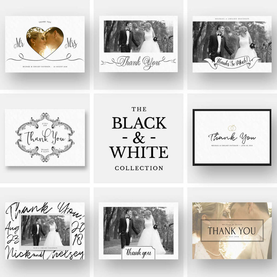 The Black & White Collection | (8) 5x7 Folding Thank You Cards
